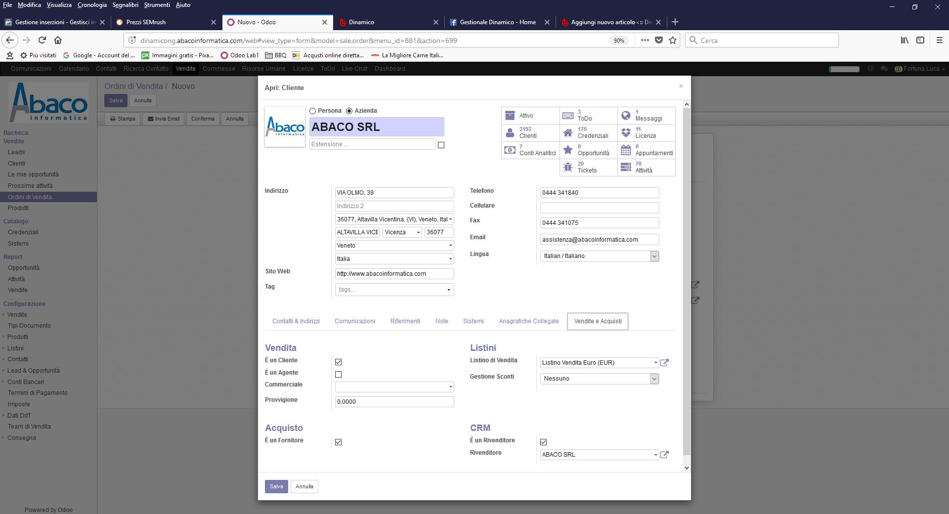 Gestione Cliente CRM Web